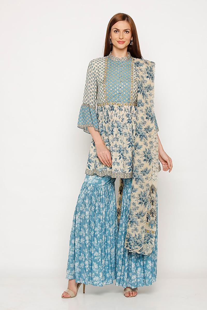 Sharara style garden party blue floral set
