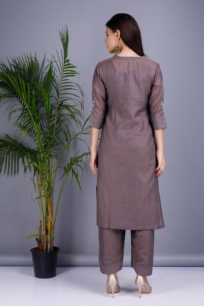 Slate grey Chanderi cotton silk Kurta set