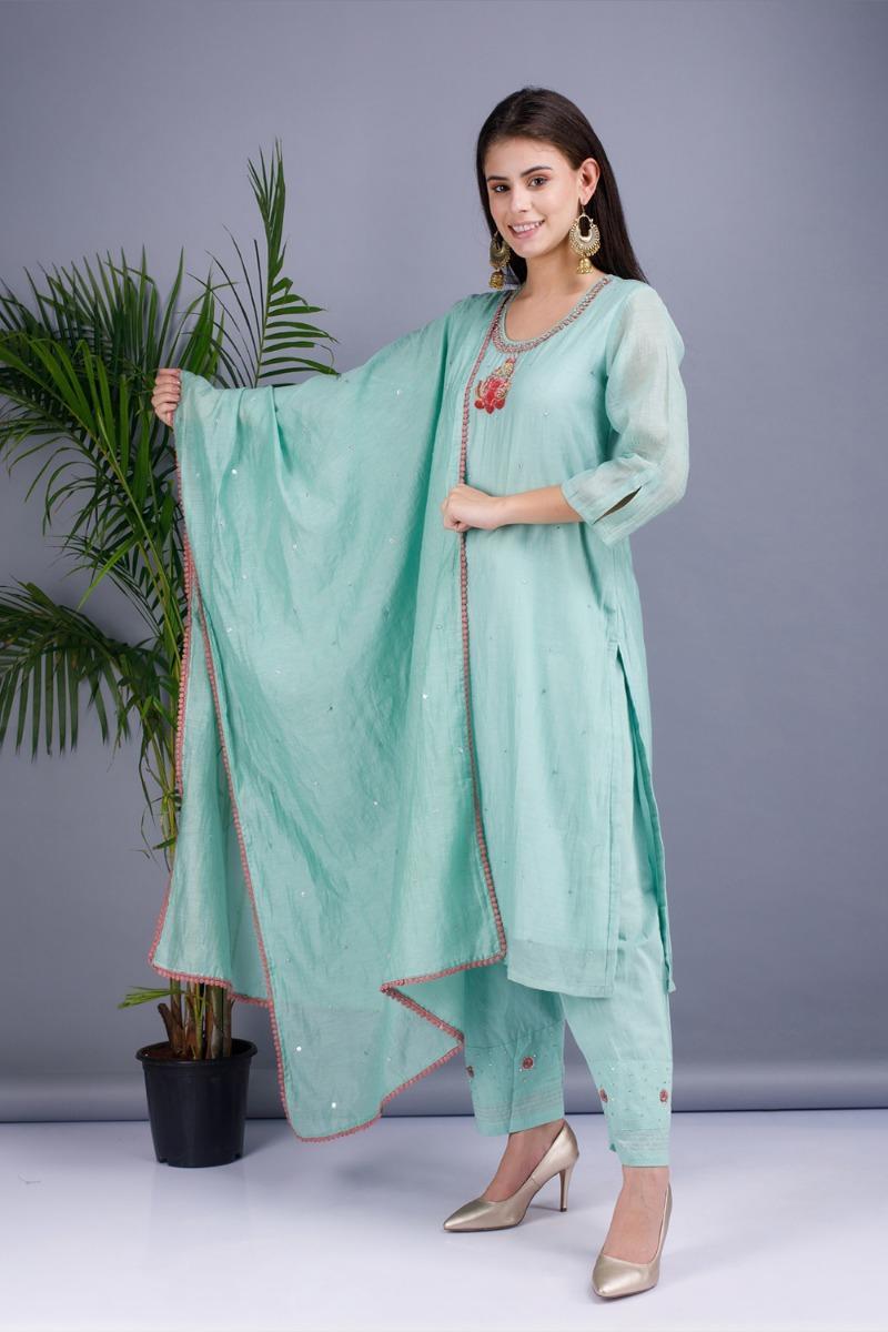 Haze green Chanderi cotton silk Kurta set