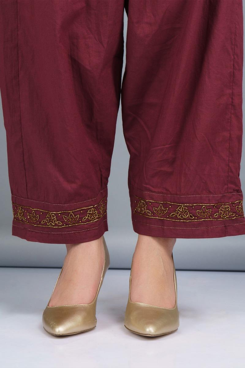 Wine and fuchsia Chanderi cotton silk Kurta set