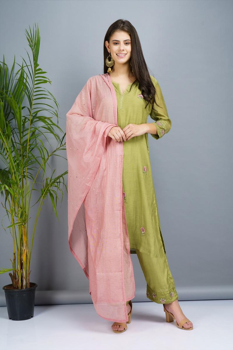 Sage green and powder pink Chanderi cotton silk Kurta set