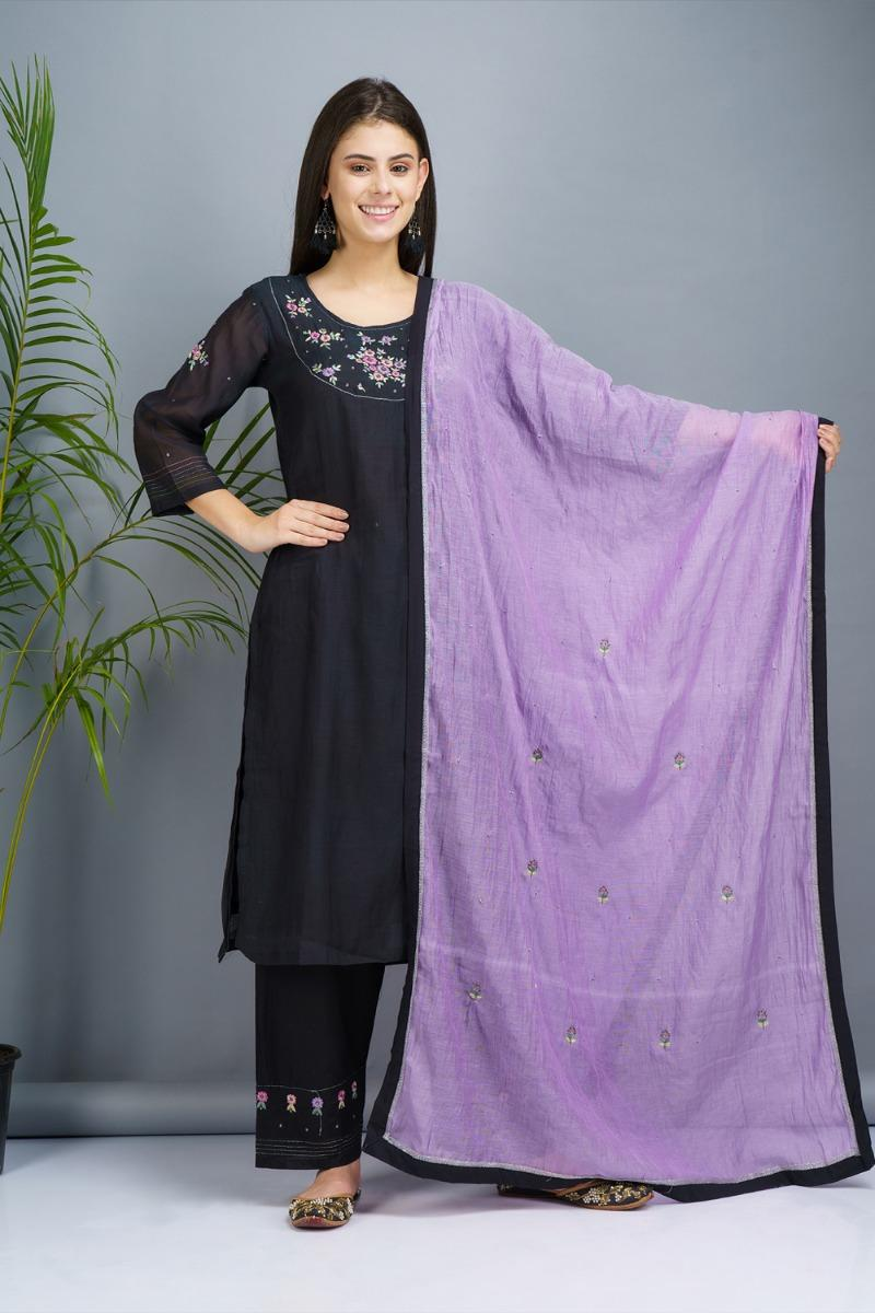 Black and orchid blue Chanderi  cotton silk Kurta set
