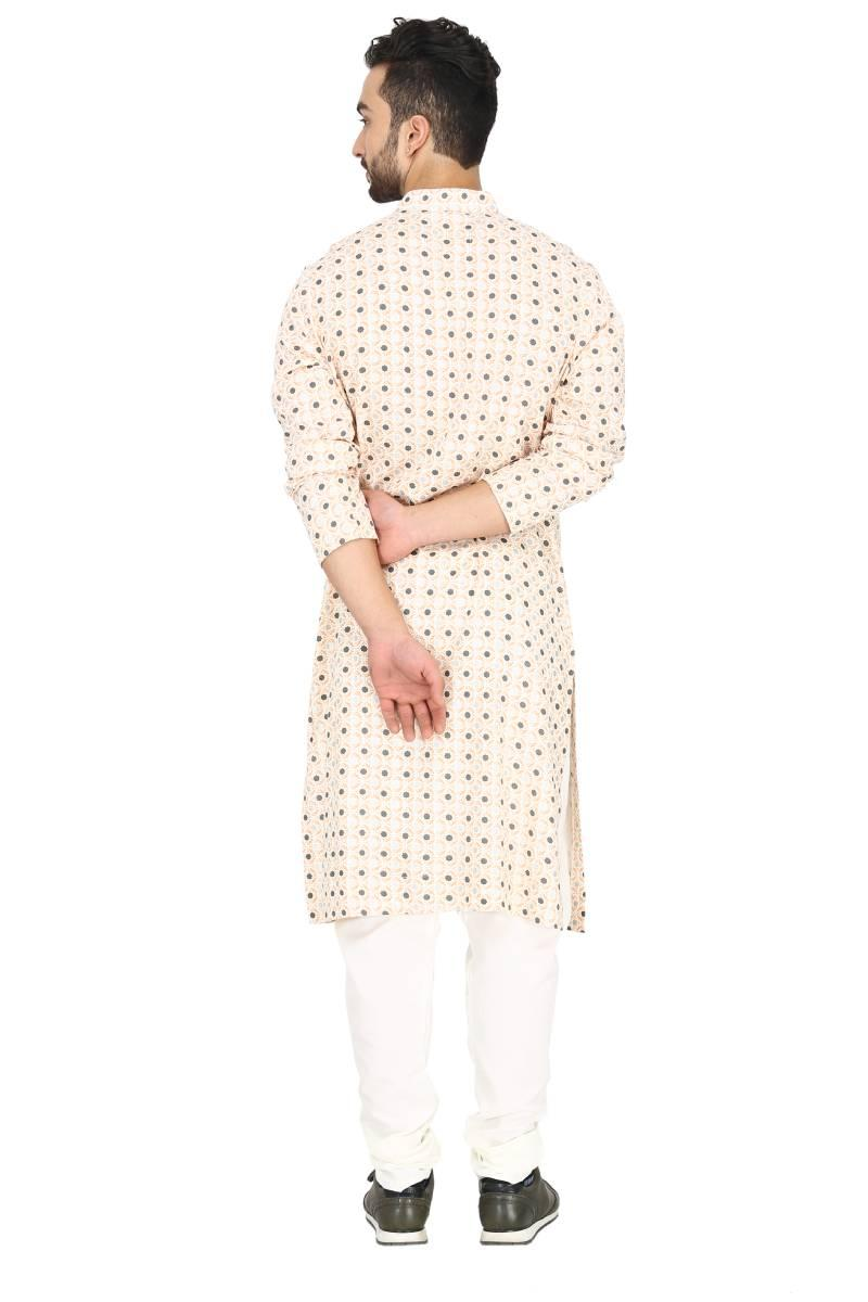 Geometric print peach & off white kurta set