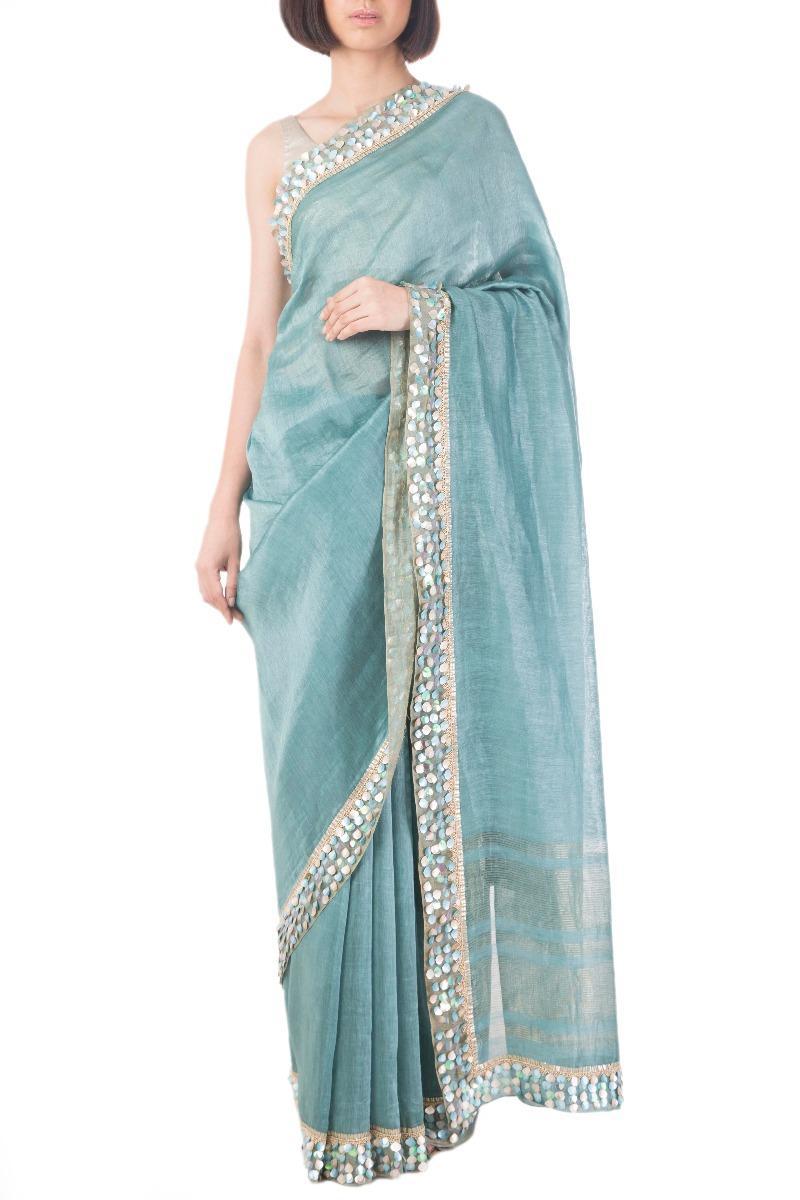 Teal embroidered linen silk sari