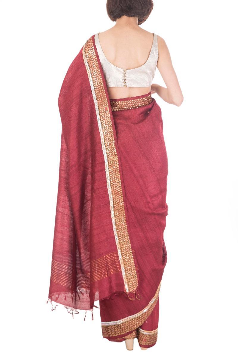 Maroon embroidered tusser silk sari