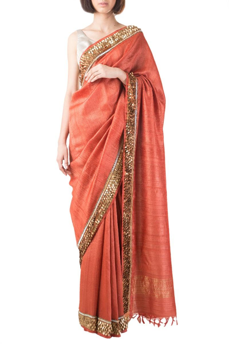 Rust embroidered tusser silk sari