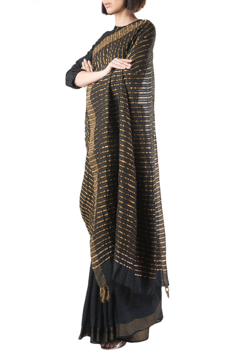 Black handwoven silk sari